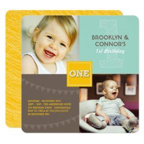 Fun Modern Square ONE Baby Twins 1st Birthday Invitation