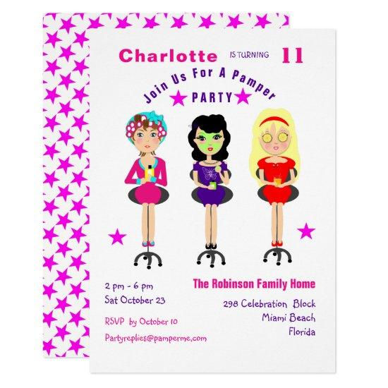 fun pamper party girls birthday invites candied clouds