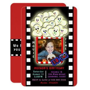 Fun Popcorn Movie Theater Themed Birthday Party Invitation