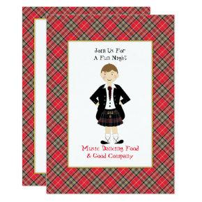 Fun Scottish Tartan Clan Plaid Peraonalized Party Invitation