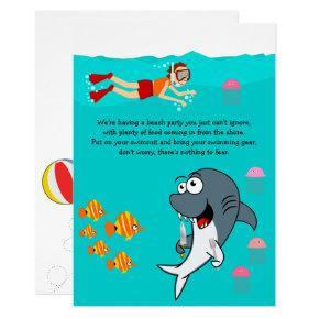 Fun Shark Beach Party Birthday Invitations