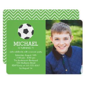 Fun Soccer Themed Photo Birthday Party Invitations