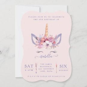 Fun Unicorn face watercolor birthday party invite
