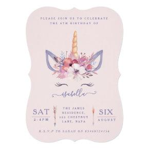 Fun Unicorn face watercolor birthday party invite