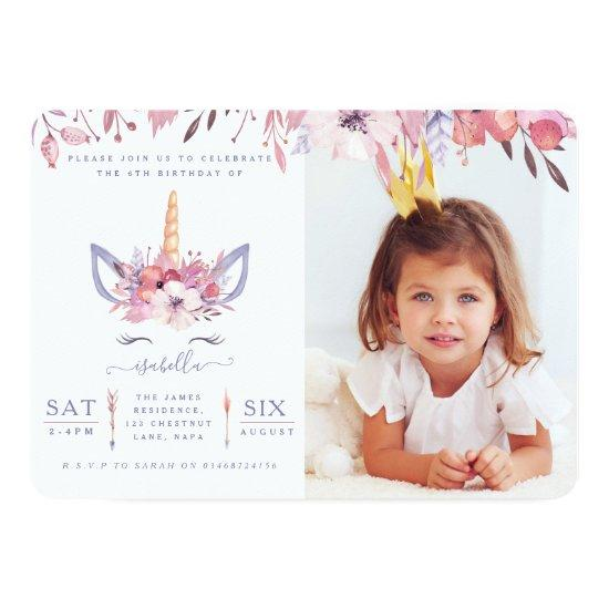 Fun Unicorn face watercolor photo party invite.