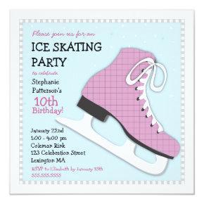 Funky Girl Ice Skating Birthday Party Invitation