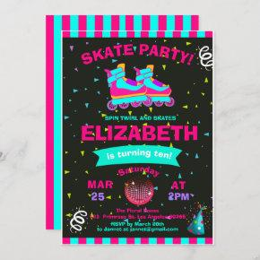 Funky Girl Roller Skate Chalkboard Birthday Party Invitation