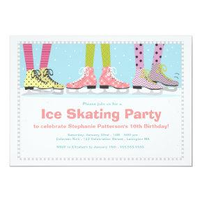 Funky Girls Ice Skating Birthday Party Card