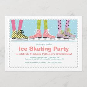 Funky Girls Ice Skating Birthday Party Invitation