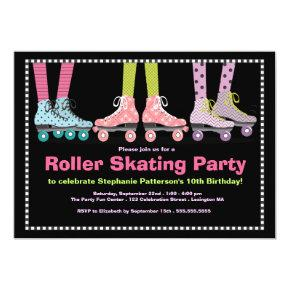 Funky Girls Roller Skating Birthday Party Invitations