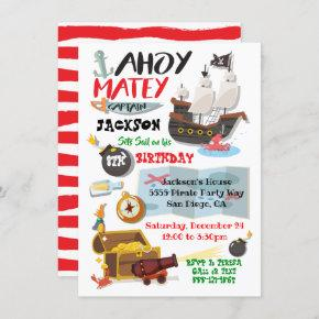 Funky Pirate Birthday Party Invitation