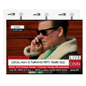 Funny 50th Birthday Men's Breaking News TV Graphic Invitations