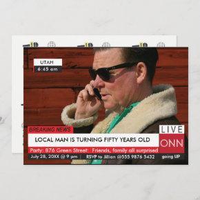 Funny 50th Birthday Men's Breaking News TV Graphic Invitation