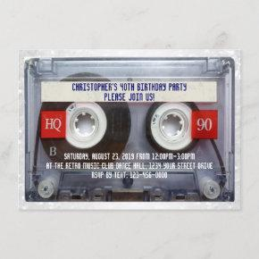 Funny 80s Cassette Mixtape 40th Birthday Party Invitation