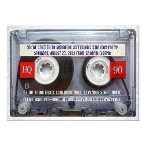 Funny 80s Cassette Mixtape Party Invitations