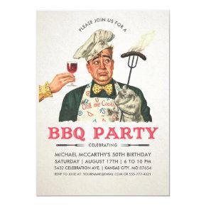 Funny BBQ Party Invitations   Birthday   Vintage