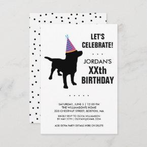 Funny Black Lab Dog Birthday Party Invitation