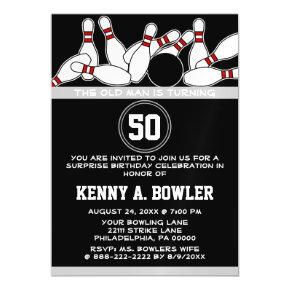 Funny Bowler Over The Hill Birthday Party Magnetic Invitation