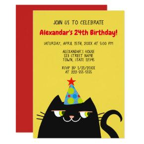 Funny Cartoon Doodle Black Cat Birthday Party Invitation