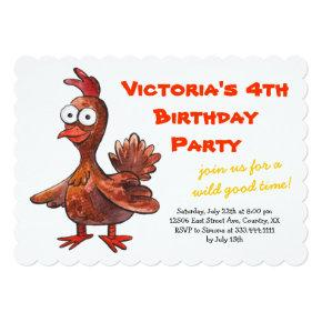 Funny Chicken Birthday Party Invitations