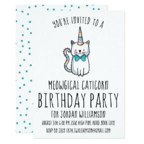 Funny Cute Cat Unicorn Birthday Party Invitations