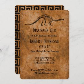 Funny Dinosaur Old Birthday Party Invitation