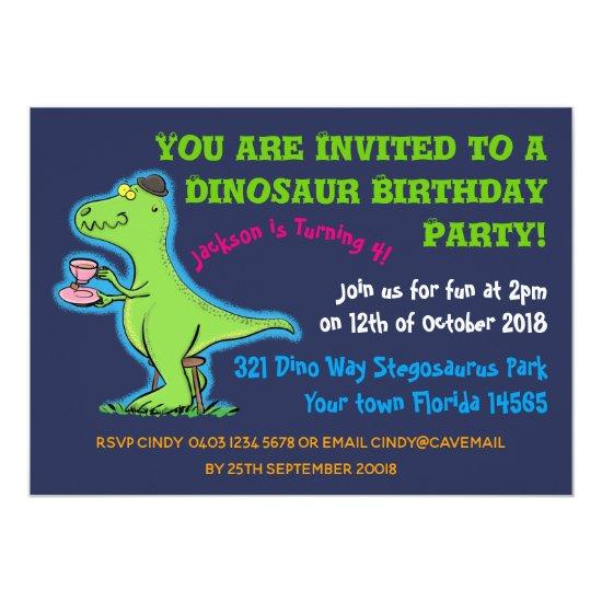 Funny Dinosaur T Rex 4 Year Old Birthday Invite