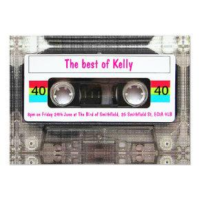 Funny DJ 80s Cassette Tape 40th Birthday custom Invitations