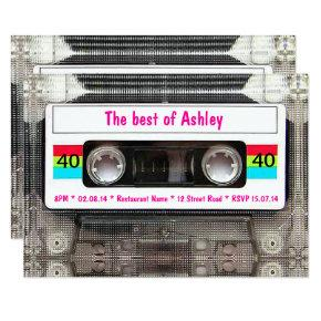 Funny DJ 80s Cassette Tape 40th Birthday Invitations