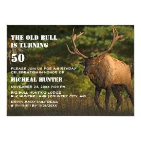 Funny Elk Old Man Bull Wildlife Birthday Party Invitation
