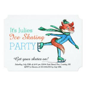 Funny Figure Skating Fox Party Invitation