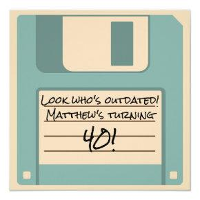 Funny Floppy Disk Outdated Party Invitations