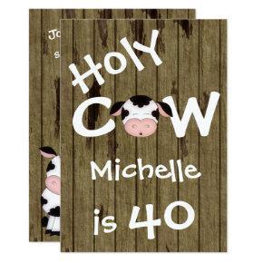 Funny Holy Cow 40th Humorous Birthday Invitation