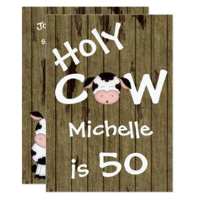 Funny Holy Cow 50th Humorous Birthday Invitations