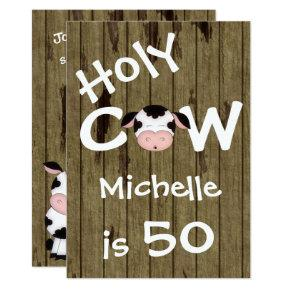 Funny Holy Cow 50th Humorous Birthday Party Invitation