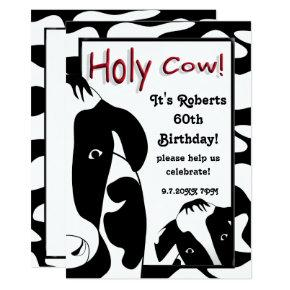 Funny Holy Cow 60th Birthday Party Invite