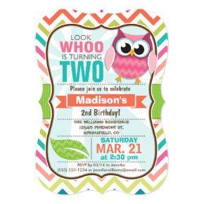 Funny Owl on Cute Chevron Pattern Birthday Party Invitation