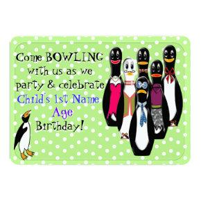 Funny Penguin Bowling Birthday Party Personalized Invitations