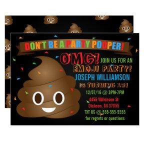 Funny Poop Emoji Birthday Party Invitations