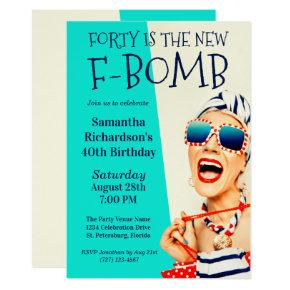 Funny Retro 40th Birthday F-Bomb Invitation