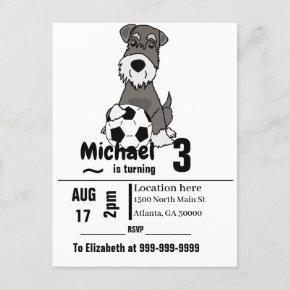 Funny Schnauzer Dog Playing Soccer Birthday Party Invitation Post