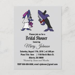 Funny Shark Bride and Groom Wedding Invitation Post