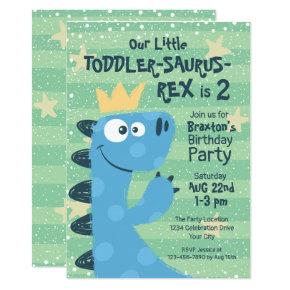 Funny T-Rex Dinosaur Theme Toddler Boy's Birthday Invitation