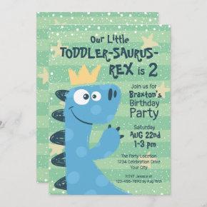 Funny T-Rex Dinosaur Theme Toddler Boy's Birthday Invitation