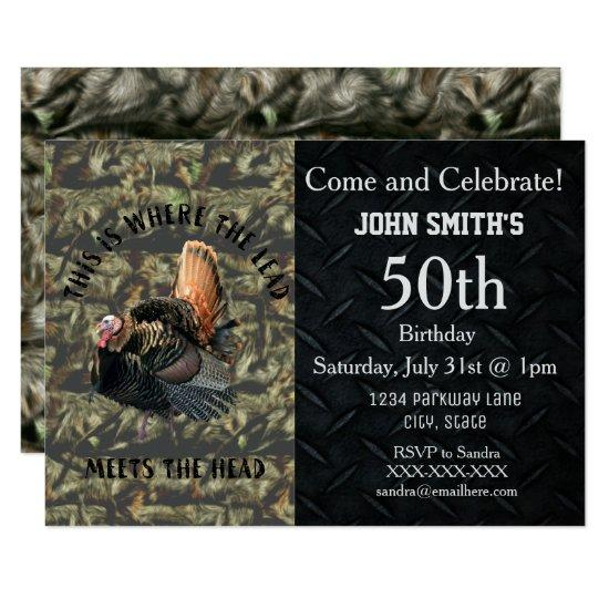 Funny Turkey Hunting Mens Camo Birthday Invitations Candied Clouds
