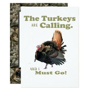 Funny Turkey Hunting Men's Camo Birthday Invite