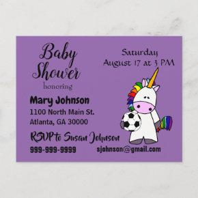 Funny Unicorn Playing Soccer Baby Shower Invitation Post