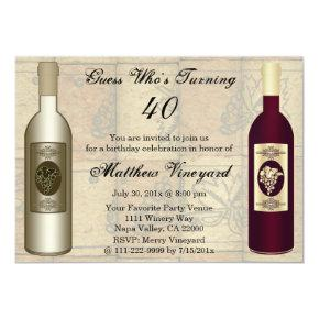 Funny Winery Wine Bottle Happy Birthday Party Magnetic Invitations