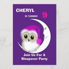 Fuzzy Night Owl Sleepover Personalized Invitation