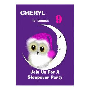 Fuzzy Night Owl Sleepover Personalized Invitation